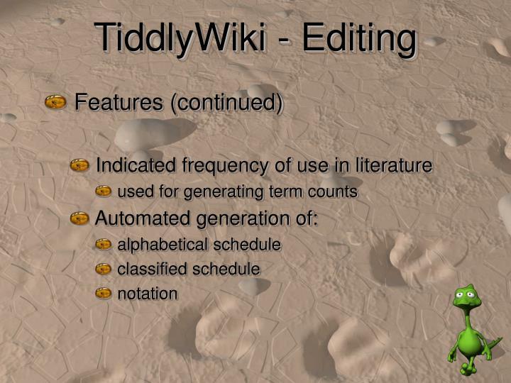 TiddlyWiki - Editing