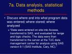 7a data analysis statistical methods
