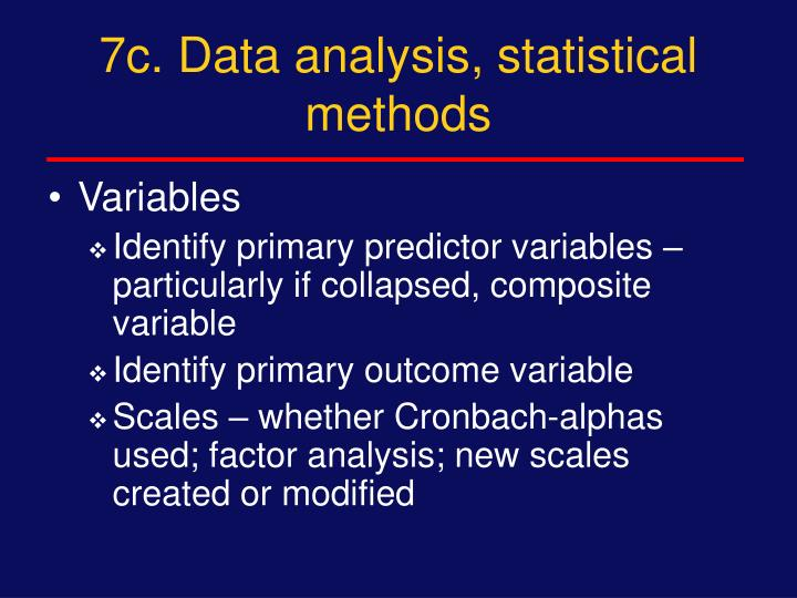 7c. Data analysis, statistical methods