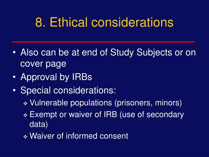 8. Ethical considerations