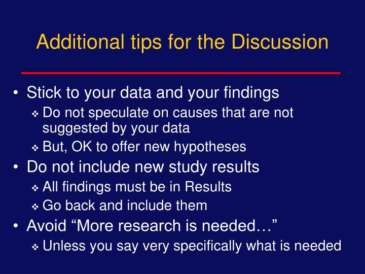 Additional tips for the Discussion