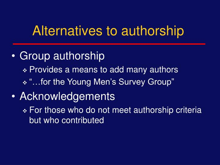 Alternatives to authorship