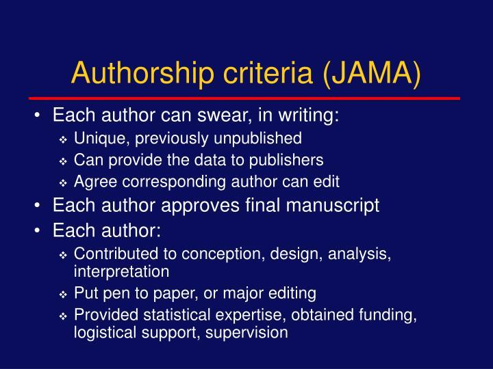 Authorship criteria (JAMA)