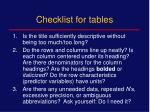 checklist for tables
