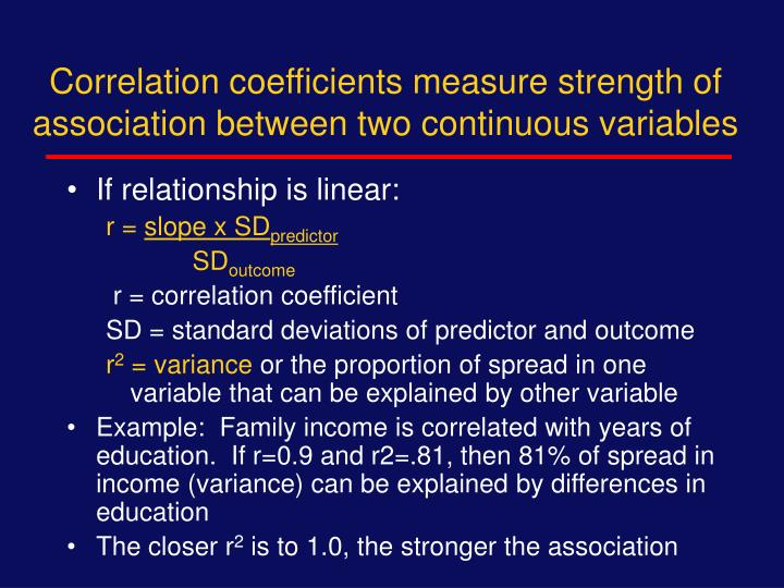 Correlation coefficients measure strength of association between two continuous variables