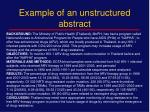 example of an unstructured abstract1