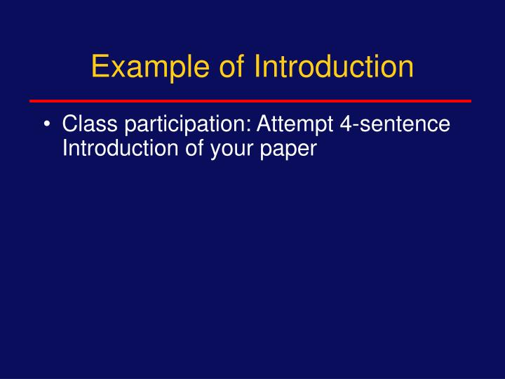 Example of Introduction