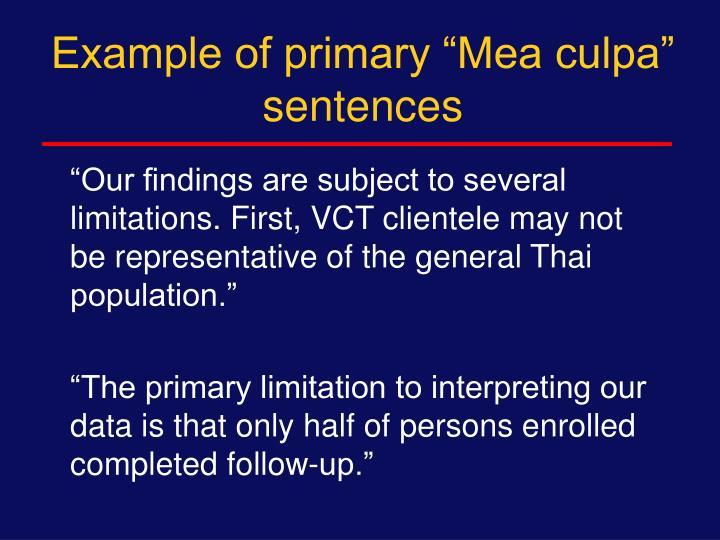 "Example of primary ""Mea culpa"" sentences"