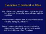 examples of declarative titles