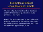 examples of ethical considerations simple
