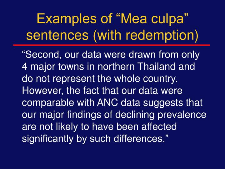 """Examples of """"Mea culpa"""" sentences (with redemption)"""