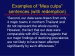 examples of mea culpa sentences with redemption