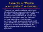examples of mission accomplished sentence s