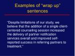 examples of wrap up sentences1