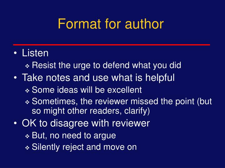 Format for author