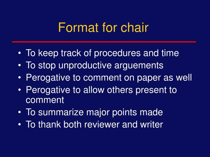 Format for chair