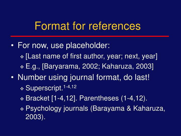 Format for references