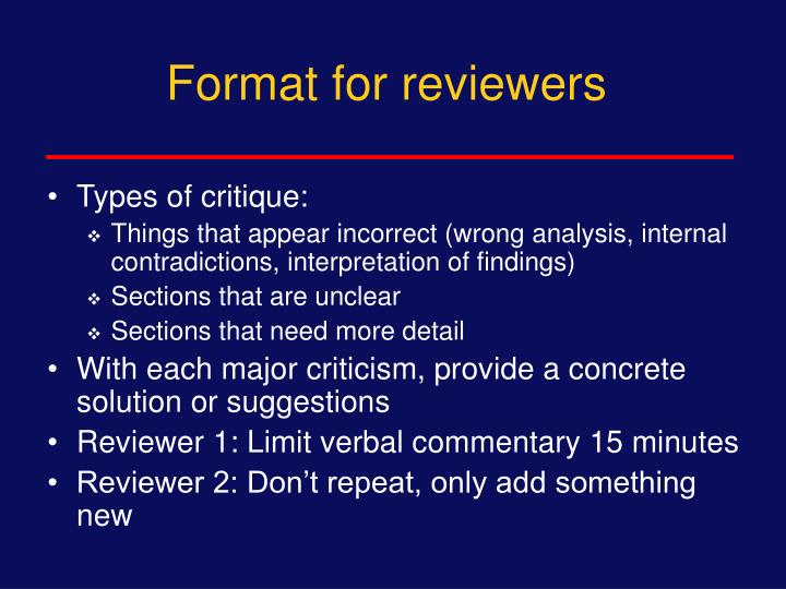 Format for reviewers