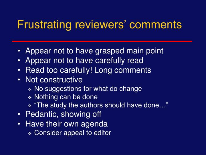 Frustrating reviewers' comments