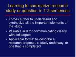 learning to summarize research study or question in 1 2 sentences
