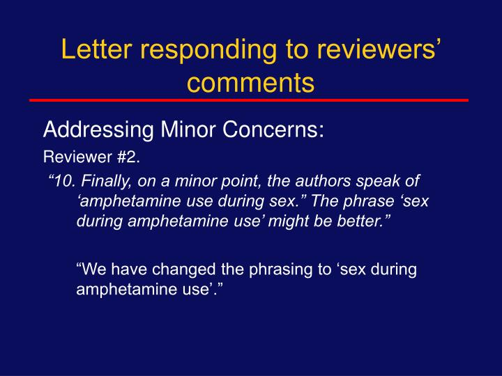 Letter responding to reviewers' comments