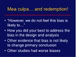 mea culpa and redemption