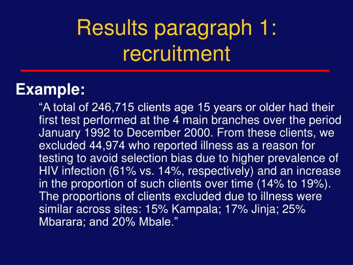 Results paragraph 1: recruitment