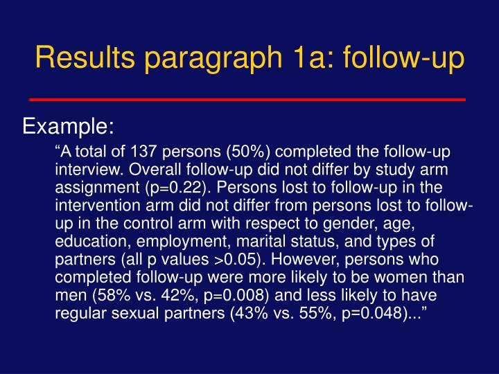 Results paragraph 1a: follow-up