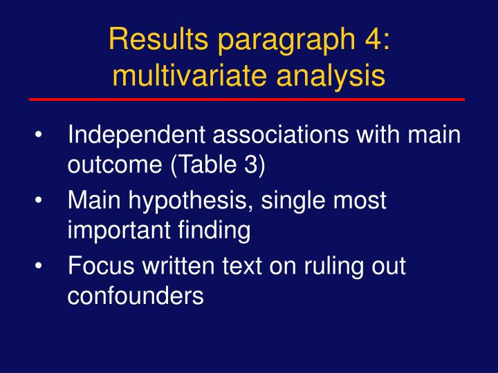 Results paragraph 4: multivariate analysis