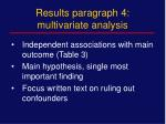 results paragraph 4 multivariate analysis
