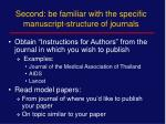 second be familiar with the specific manuscript structure of journals