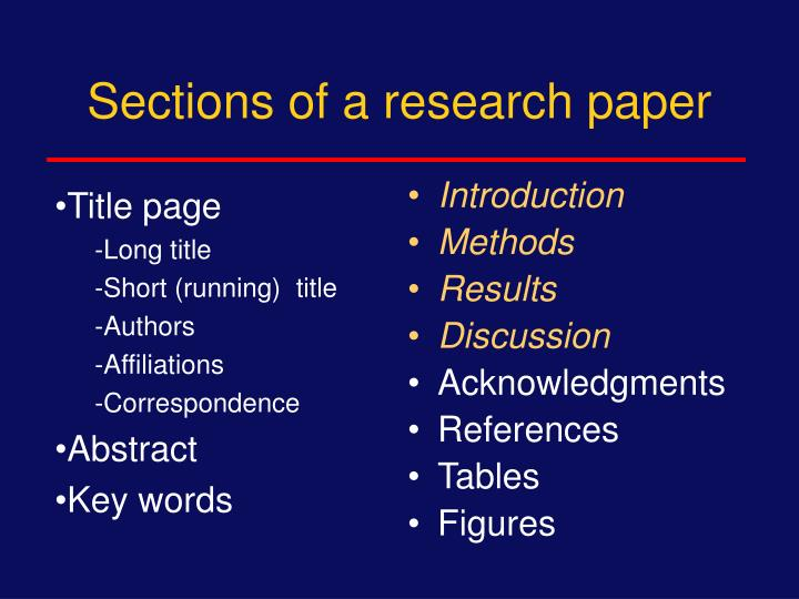 Sections of a research paper