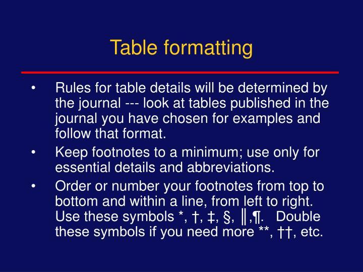 Table formatting