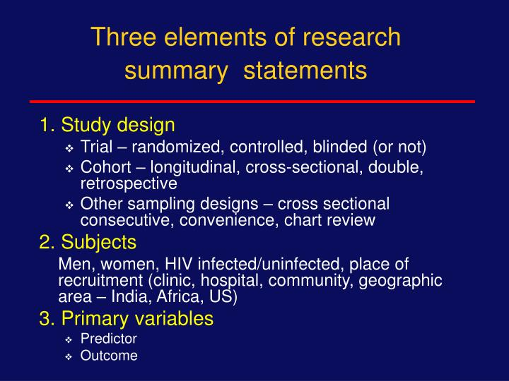 Three elements of research summary  statements