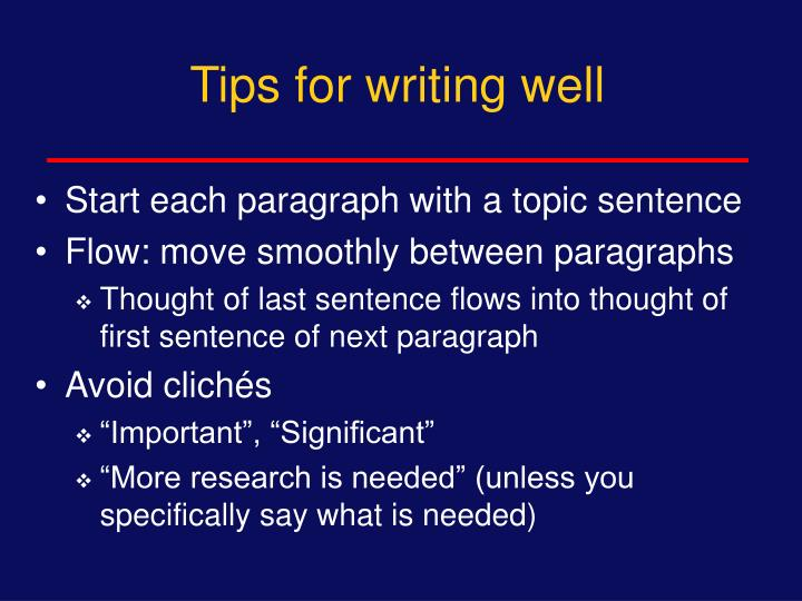 Tips for writing well