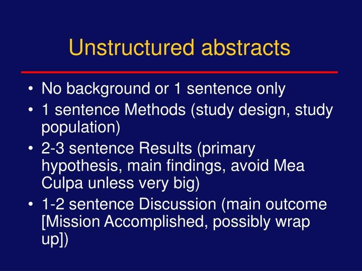 Unstructured abstracts
