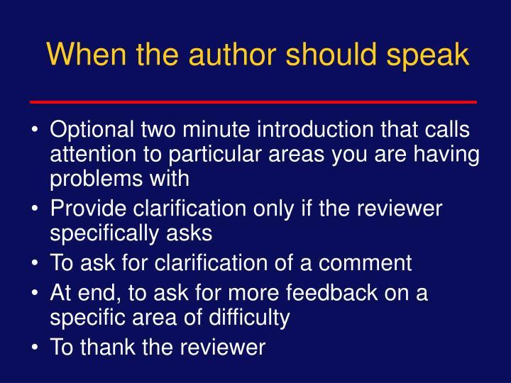 When the author should speak