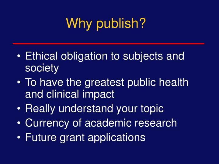 Why publish?