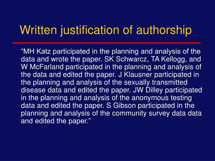 Written justification of authorship