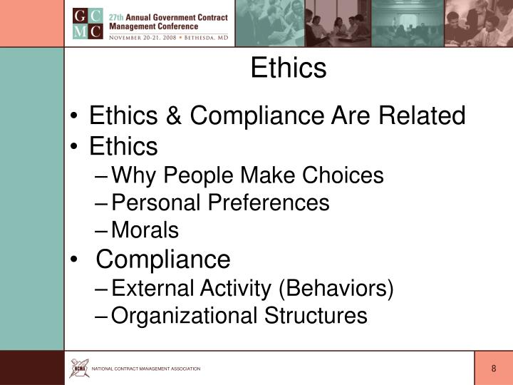 ethics and contracting Today the concept of ethics in connection with competitive bidding and  contracting may seem like a contradiction in terms in recent times, ethics has  generally.