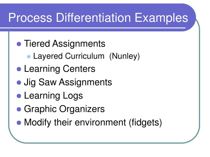 Process Differentiation Examples