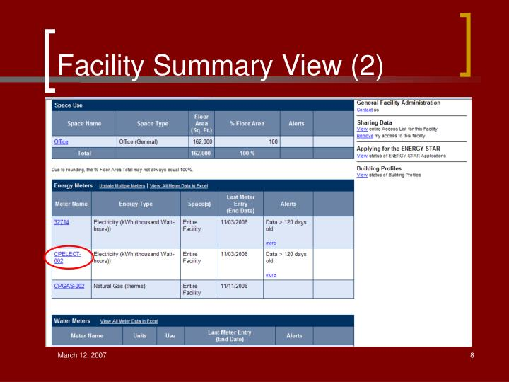Facility Summary View (2)