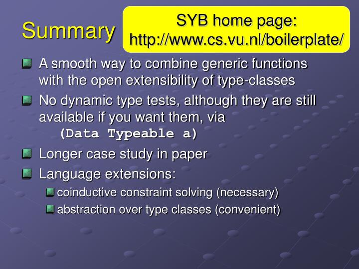 SYB home page: