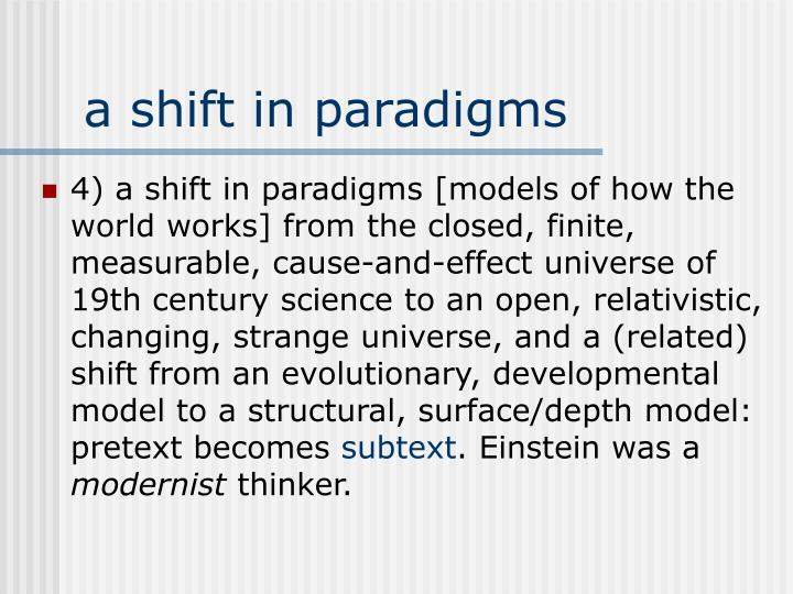 a shift in paradigms