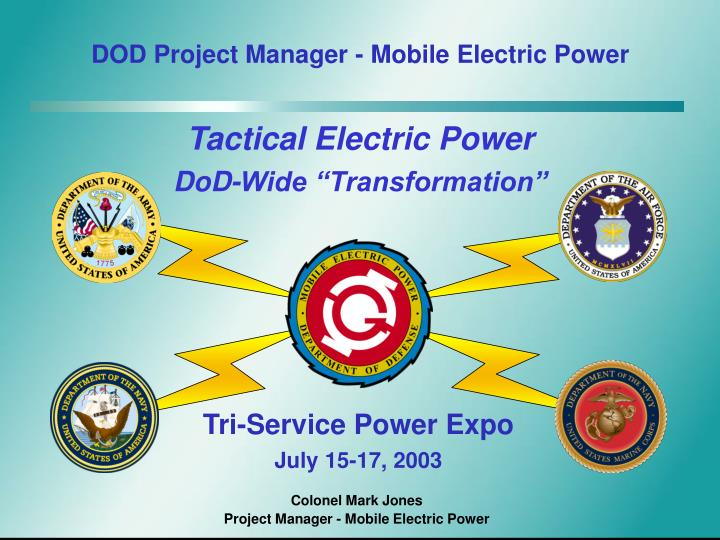 DOD Project Manager - Mobile Electric Power