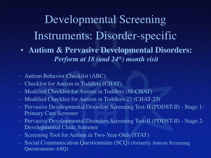 Developmental Screening Instruments: Disorder-specific
