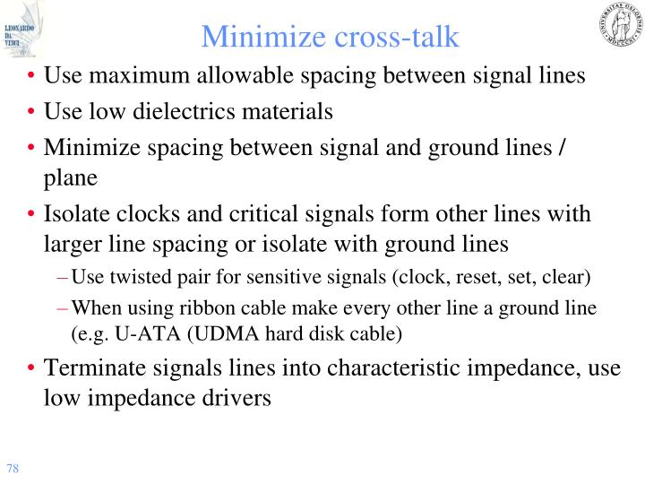 Minimize cross-talk