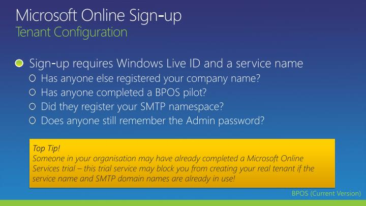Microsoft Online Sign-up