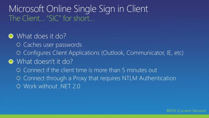 Microsoft Online Single Sign in