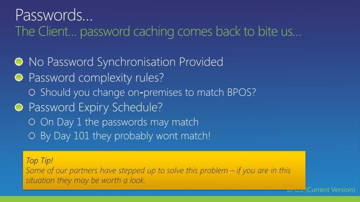 Passwords…